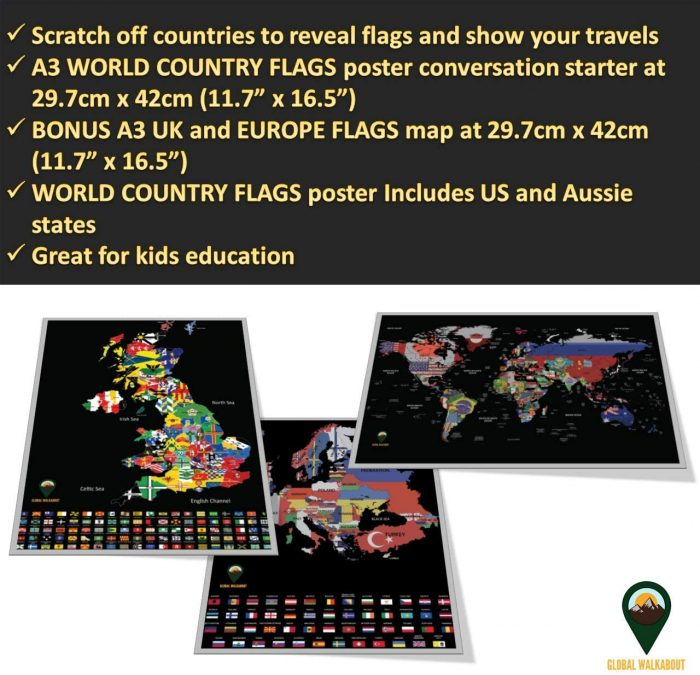 World Europe UK Scratch Off Maps Flags Black | Global Walkabout