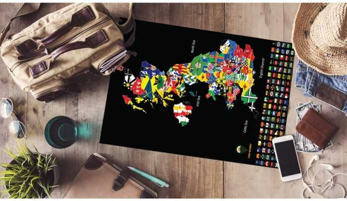 UK Scratch Off Maps Flags Black | Global Walkabout