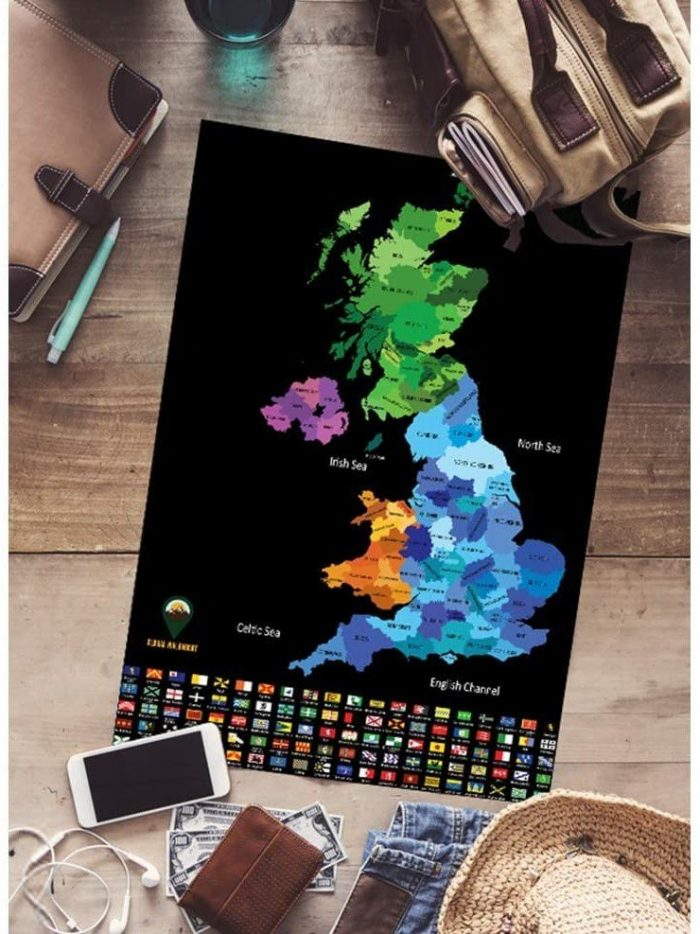 Global Walkabout Scratch UK and World Colours Black A3 English