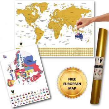 World and Europe Scratch Off Maps with Flags Deluxe A2 White | Global Walkabout