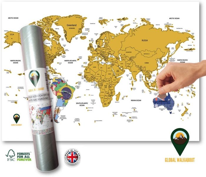 World Maps with Flags Deluxe A3 Travel Size White | Global Walkabout