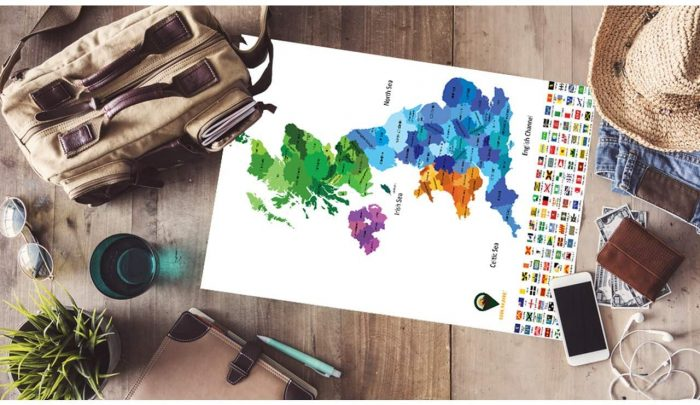UK Coloured Maps_Deluxe_White | Global Walkabout