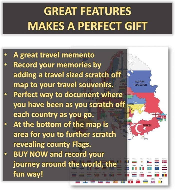 UK Europe Scratch Off Maps_English Flags_White | Global Walkabout