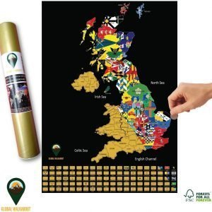 UK Scratch Off Map Flags Black | Global Walkabout