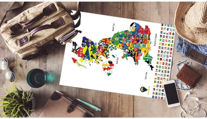UK Map with Flags_White | Global Walkabout