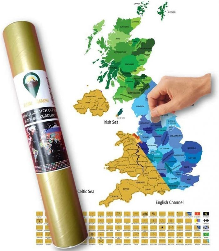 UK Scratch Off Map Coloured Maps White | Global Walkabout