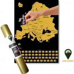 Europe Scratch Off Maps English Flags Black | Global Walkabout