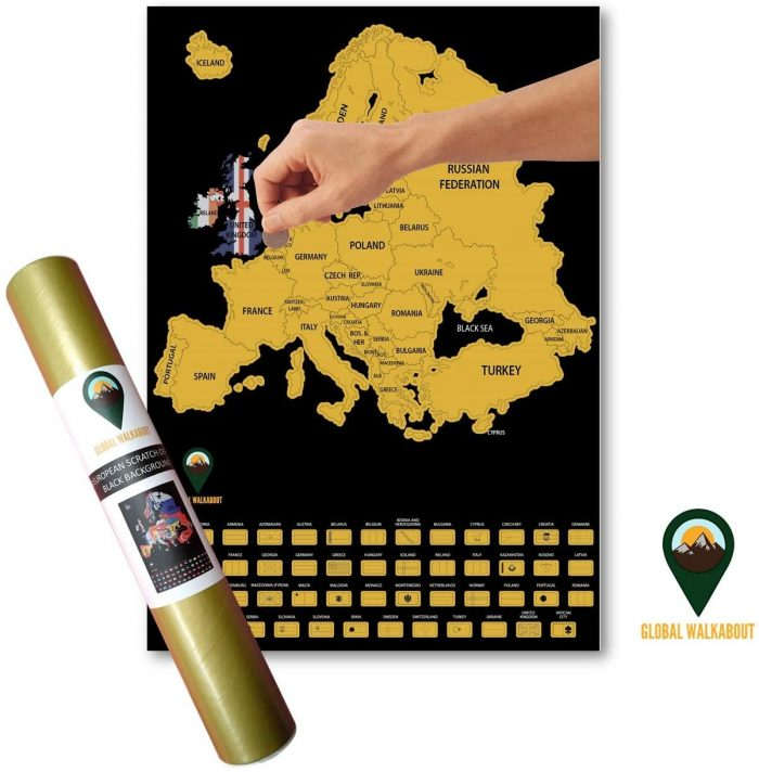 Europe Scratch Off Maps English Flags Black   Global Walkabout