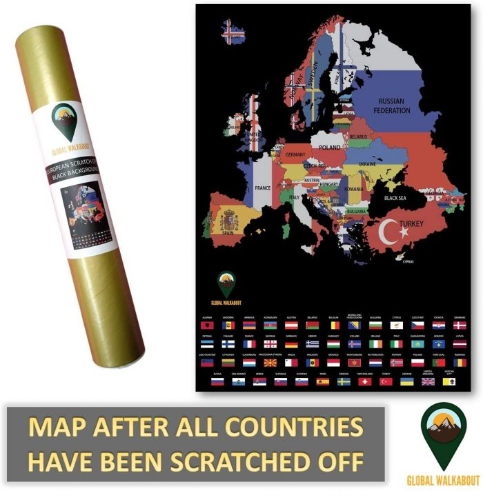 UK Scratch Off Maps_English Flags_Black   Global Walkabout