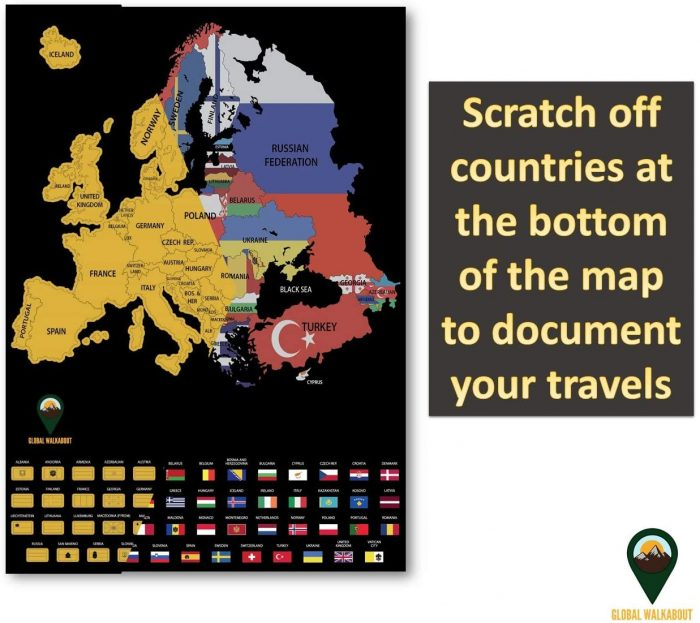 UK Scratch Off Maps_English Flags_Black | Global Walkabout