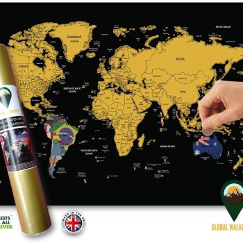 World Maps with Flags Deluxe Black A3 Travel Size | Global Walkabout