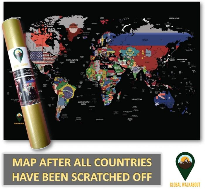 World Maps with Flags_Deluxe_Black | Global Walkabout