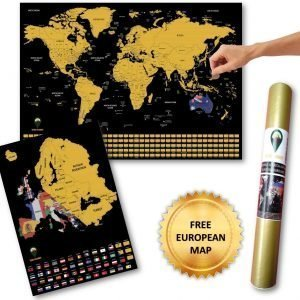 World and Europe Scratch Off Map Flags English A2 Black | Global Walkabout