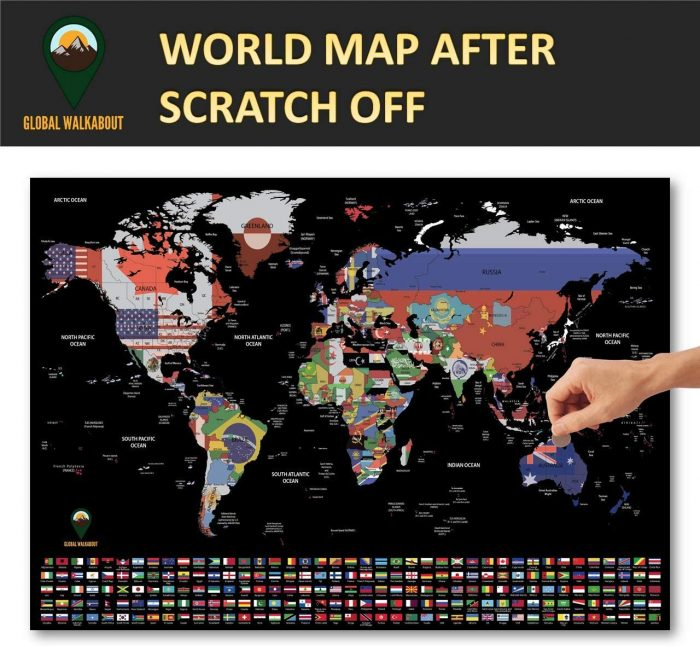 World Scratch Off Map Coloured_English_A2_Black | Global Walkabout