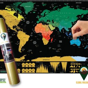 World Scratch Off Map Coloured English Black A3 Size | Global Walkabout