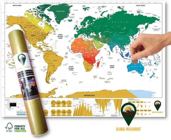 World Scratch Off Map Coloured English White A3 Travel Size | Global Walkabout