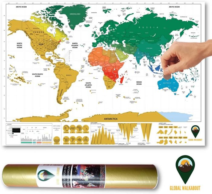 World Scratch Off Map Coloured English White | Global Walkabout