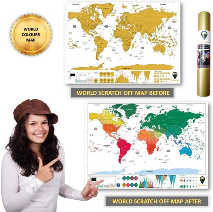 World Scratch Off Map Coloured_English_White | Global Walkabout