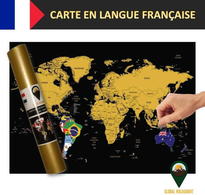 World Scratch Off Maps French Flags Black | Global Walkabout
