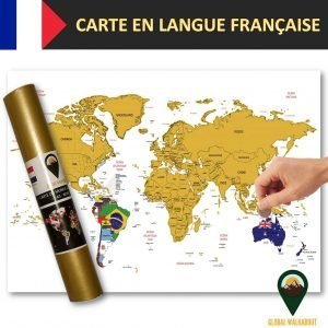 World Scratch Off Maps French Language Flags White | Global Walkabout