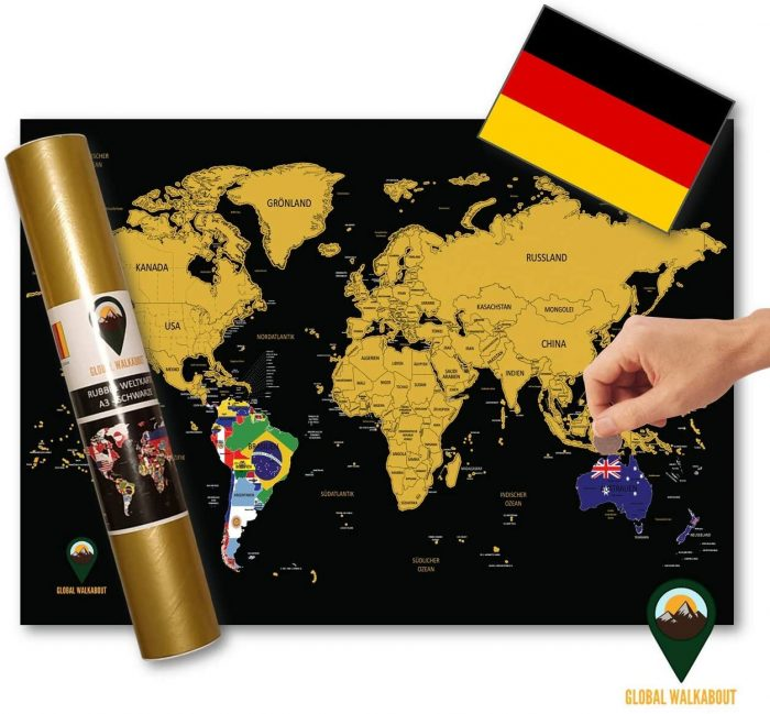 World Scratch Off Maps German Language Flags Black | Global Walkabout