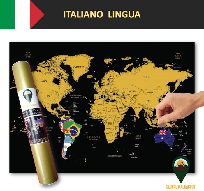 World Scratch Off Maps Italian Language Flags Black | Global Walkabout