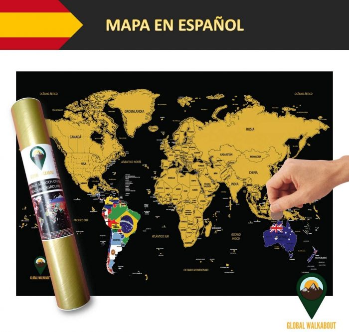World Scratch Off Maps Flags Black Spanish Language | Global Walkabout