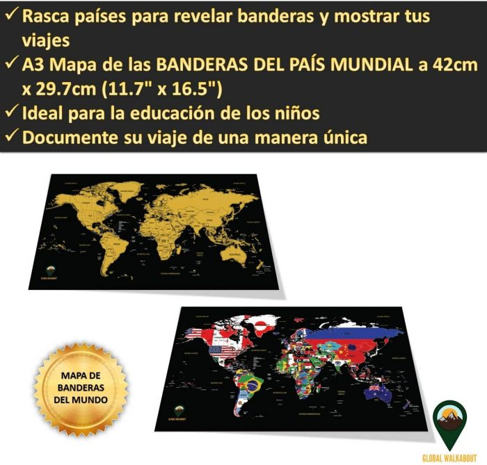 World Scratch Off Maps_Spanish Flags_Black | Global Walkabout