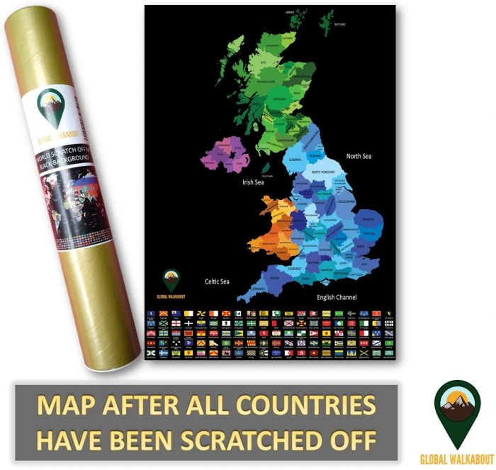 UK Scratch Off Maps Coloured Black | Global Walkabout