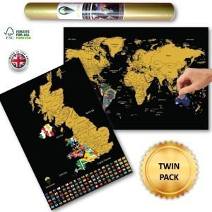 World and UK Scratch Off Maps Black Flags Design Deluxe | Global Walkabout
