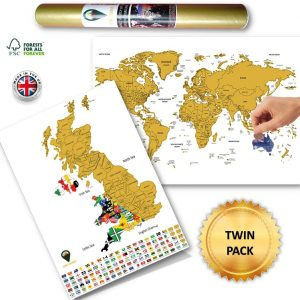 World Scratch Off Map UK Scratch Map White Flags Design Deluxe | Global Walkabout