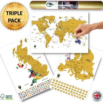 World Europe UK With Flags Triple Pack Scratch Maps White | Global Walkabout